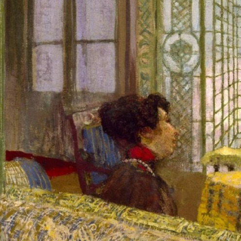 Marcelle Aron (Madame Tristan Bernard), Edouard Vuillard, Distemper on canvas, 1914, w156.5 x h181.3 cm (without frame), Credit Line: The Museum of Fine Arts, Houston, Credit: gift of Alice C. Simkins in memory of Alice N. Hanszen, Via Google Arts & Culture, detail