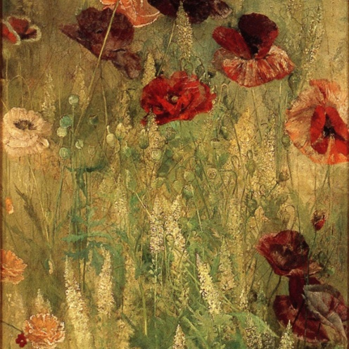 Thomas Wilmer Dewing, Poppies and Italian Mignotte, ca 1891, source: ARC