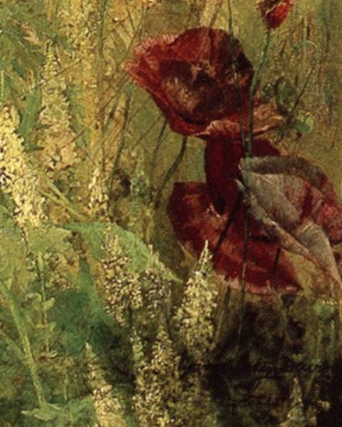 Thomas Wilmer Dewing, Poppies and Italian Mignotte, ca 1891, source: ARC, detail