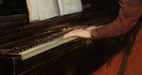 A Romance by Santiago Rusiñol ,1894, from Museu Nacional d'Art de Catalunya, ,Image from Google Arts and Culture (detail)