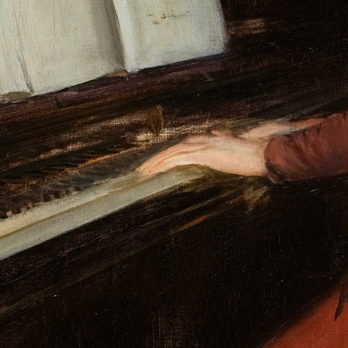 A Romance by Santiago Rusiñol ,1894, from Museu Nacional d'Art de Catalunya, ,Image from Google Arts and Culture (detail)