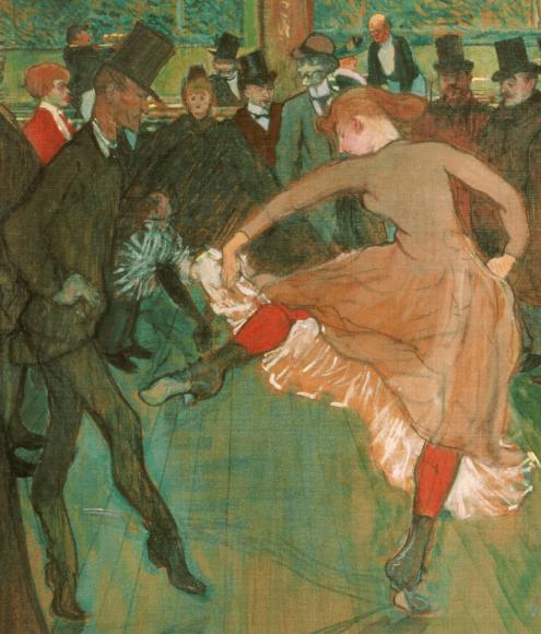 At the Moulin Rouge: The Dance, Henri de Toulouse-Lautrec (1890) Philadelphia Museum of Art, [Public domain], via Wikimedia Commons (detail)