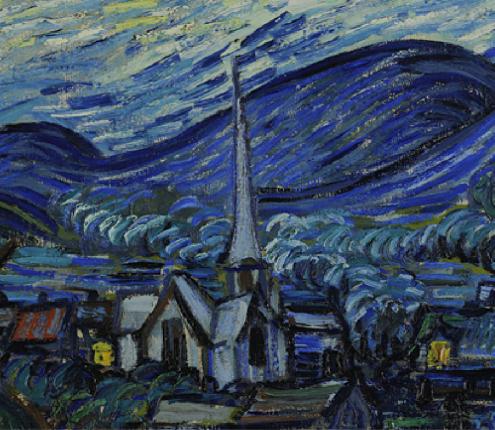 Vincent van Gogh The Starry Night, Saint Rémy, 1889, The Museum of Modern Art, New-York (detail)