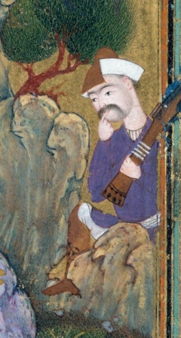 "Man with rifle, ""The Concourse of the Birds,"" from Habiballah of Sava, Mantiq al-tair (Language of the Birds), c. 1600, Iran, ink, opaque watercolor, gold, and silver on paper, 25.4 cm high (The Metropolitan Museum of Art, New York) (detail)"
