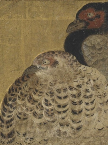 Anonymous Japanese painter - Two Pheasants on a Snow Bank. N.d., Momoyama period (1573 – 1615) detail