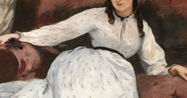 Berthe Morisot posing for The Rest. 1870. By Édouard Manet, (via wikipedia in public domain) detail