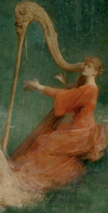 Thomas Wilmer Dewing_Summer (1890) Yale University, source: The Athenaeum, detail