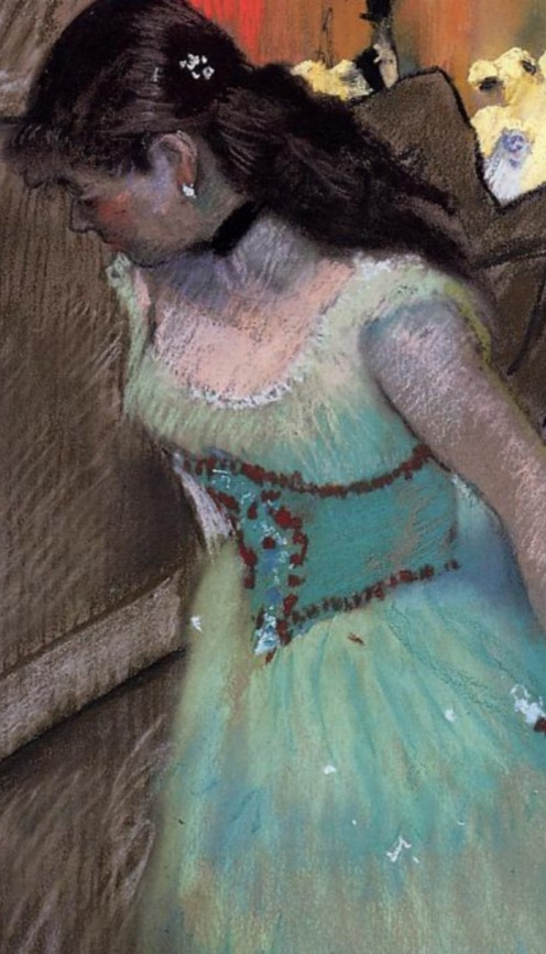 Edgar Degas, The Entrance of the Masked Dancers (1882),Pastel on gray wove paper, Sterling and Francine Clark Art Institute - Williamstown, MA (United States), Image credit: The Athenaeum, (detail).