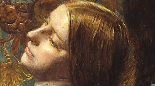 Sir John Everett Millais, Mariana, 1851, oil on wood, 597 x 495 mm (Tate Britain) detail