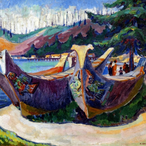 War Canoes, Alert Bay,(1912) source wikimedia commons, detail