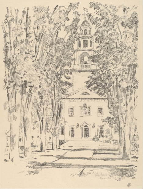Childe Hassam, Lithograph of Colonial Church, Gloucester (1918) source: http://www.nga.gov/