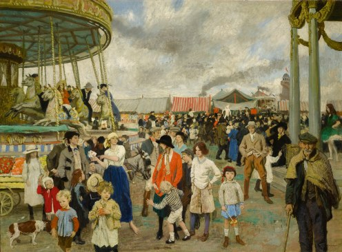 Dame Laura Knight, The Fairgrounds, Penzance, (c.1916), Source: Sotheby's