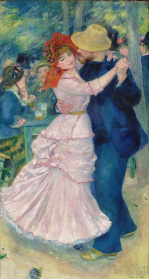 Dance at Bougival (1883), Pierre-Auguste Renoir , (French, 1841–1919), Oil paint on canvas, 181.9 by 98.1 centimetres (71.6 in × 38.6 in), Museum of Fine Arts, Boston