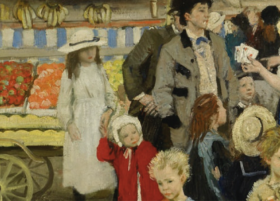 Dame Laura Knight, The Fairgrounds, Penzance, (c.1916), Source: Sotheby's, detail