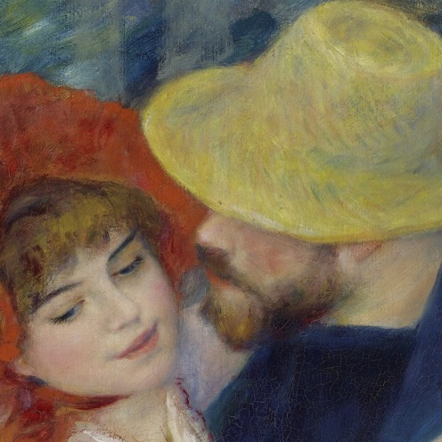Dance at Bougival (1883), Pierre-Auguste Renoir , (French, 1841–1919), Oil paint on canvas, 181.9 by 98.1 centimetres (71.6 in × 38.6 in), Museum of Fine Arts, Boston, (detail).