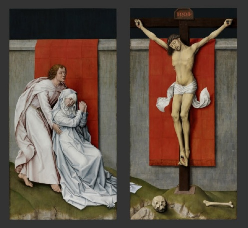 Rogier van der Weyden, The Crucifixion, with the Virgin and Saint John the Evangelist Mourning (companion paintings), c. 1460, oil on panel, left panel 180.3 × 92.2 cm, right panel 180.3 × 92.5 cm (Philadelphia Museum of Art)