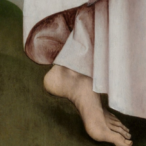 Rogier van der Weyden, The Crucifixion, with the Virgin and Saint John the Evangelist Mourning (companion paintings), c. 1460, oil on panel, left panel 180.3 × 92.2 cm, right panel 180.3 × 92.5 cm (Philadelphia Museum of Art) detail