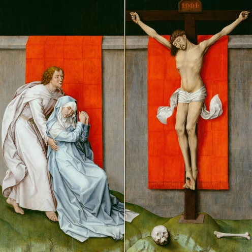 Rogier van der Weyden, The Crucifixion, with the Virgin and Saint John the Evangelist Mourning (companion paintings), c. 1460, oil on panel, cm (Philadelphia Museum of Art)