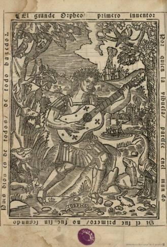 Luis de Milan, Libro de mvsica de vihuela de mano, c.1535, image source:BIBLIOTECA NACIONAL DE ESPAÑA, The famous woodcut depicting Orpheus playing a 6-course vihuela, from Luis Milan's El Maestro, (1536).