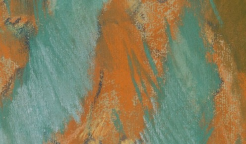 Edgar Degas: The Singer in Green (c.1884), Pastel on light blue laid paper,23 3/4 x 18 1/4 in. (60.3 x 46.4 cm), Credit Line: Bequest of Stephen C. Clark, 1960, Source: TheMet, (detail).