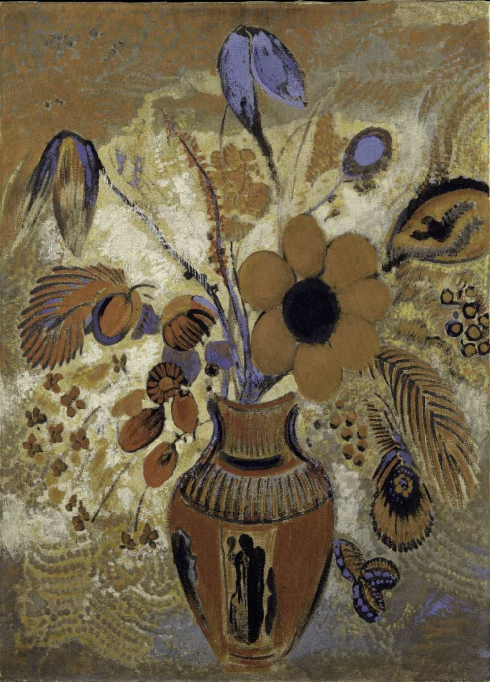 """Odilon Redon, """"Etruscan Vase With Flowers"""", (1900-1910), Metropolitan Museum of Art, Maria DeWitt Jesup Fund, 1951; acquired from The Museum of Modern Art, Lillie P. Bliss Collection"""