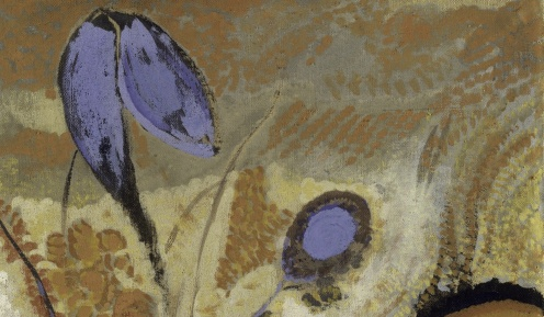 """Odilon Redon, """"Etruscan Vase With Flowers"""", (1900-1910), Metropolitan Museum of Art, Maria DeWitt Jesup Fund, 1951; acquired from The Museum of Modern Art, Lillie P. Bliss Collection (detail)"""