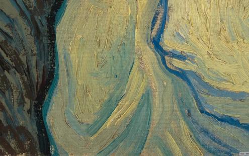 Vincent van Gogh, Pietà (after Delacroix) 1889, oil on canvas, 73 cm x 60.5 cm Credits: Van Gogh Museum, Amsterdam (Vincent van Gogh Foundation),detail