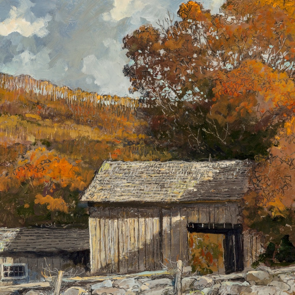 Eric Sloane, Barn in the Valley. Oil on Masonite, 17-1/2 x 22-3/4 inches (44.5 x 57.8 cm), Signed, image source: MutualArt