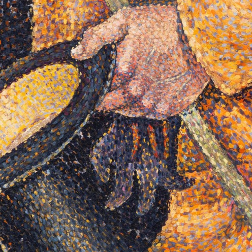 Paul Signac, Opus 217. Against the Enamel of a Background Rhythmic with Beats and Angles, Tones, and Tints, Portrait of M. Félix Fénéon in 1890, Gift of Mr. and Mrs. David Rockefeller, Image source: https://www.moma.org/collection/works/78734 (detail)