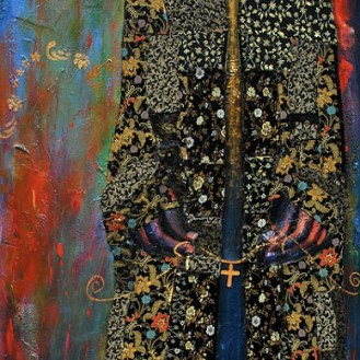 Of Royal Lineage (2010) by Tamara Natalie Madden (48″ x 24″, acrylic and mixed media on canvas)