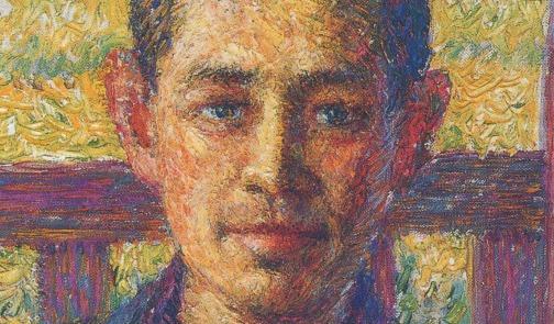 Portrait of Ōhara Magosaburō (1915) by Torajiro Kojima, oil on canvas, Ōhara Museum of Art, [Public domain], Image via Wikimedia Commons, (detail)