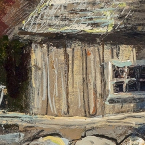 Eric Sloane, Barn in the Valley. Oil on Masonite, 17-1/2 x 22-3/4 inches (44.5 x 57.8 cm), Signed, image source: MutualArt (detail)