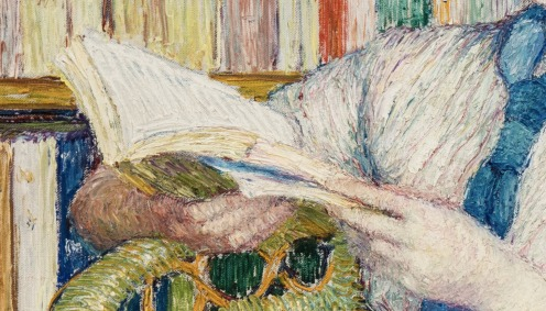 Torajirō Kojima (1881-1925), Japanese, Woman Reading, Museum of Fine Arts in Ghent, Image source: Wikimedia [Public domain or CC BY-SA 4.0 (https://creativecommons.org/licenses/by-sa/4.0)], from Wikimedia Commons (detail)