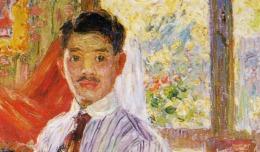 Kojima Torajirō, Self Portrait, 1910, (By 日本語: 児島虎次郎 English: Kojima Torajirō (松岡智子・時任英人編著『児島虎次郎』山陽新聞社、1999年、ISBN 4-88197-664-8) [Public domain], via Wikimedia Commons, (detail)