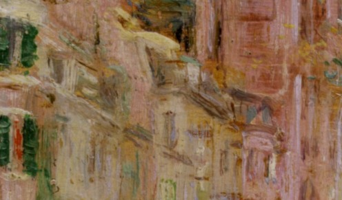 Edward Mitchell Bannister: Boston Street Scene (Boston Common), 1898-99, oil on panel, H: 8 x W: 5 1/2 in. (20.32 x 13.97 cm), Walters Art Museum, Boston, Mass. (detail)
