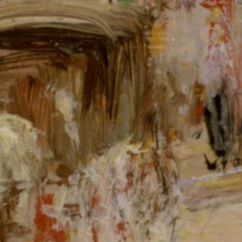 Edward Mitchell Bannister: Boston Street Scene (Boston Common), 1898-99, oil on panel, H: 8 x W: 5 1/2 in. (20.32 x 13.97 cm), Walters Art Museum, Boston, Mass. (detail)