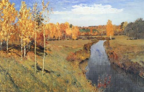 Golden Autumn (in Russian: Золотая Осень ,Zolotaya Osen'), Isaac Levitan, 1895, Public Domain, Tretyakov Gallery, image source: https://upload.wikimedia.org/wikipedia/commons/5/57/Levitan_Zolotaya_Osen.jpg