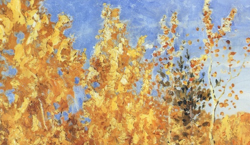 Golden Autumn (in Russian: Золотая Осень ,Zolotaya Osen'), Isaac Levitan, 1895, Public Domain, Tretyakov Gallery, image source: https://upload.wikimedia.org/wikipedia/commons/5/57/Levitan_Zolotaya_Osen.jpg, (detail)