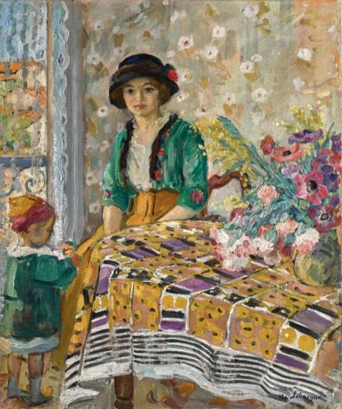 Henri Lebasque (1865 - 1937) Marthe et Pierre Lebasque dans un intérieur, (1913-1914) signed H. Lebasque (lower right), oil on canvas, 64.5 by 54cm., 25 3/8 by 21 1/4 in.,Image Source:Sotheby's http://www.sothebys.com/en/auctions/ecatalogue/2018/impressionist-modern-art-day-sale-l18004/lot.375.html?locale=en