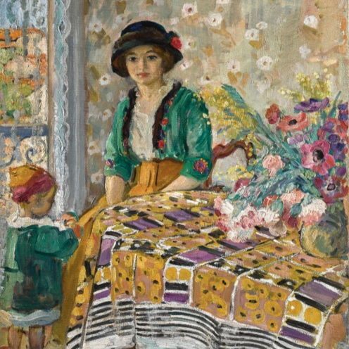 Henri Lebasque (1865 - 1937) Marthe et Pierre Lebasque dans un intérieur, (1913-1914) signed H. Lebasque (lower right), oil on canvas, 64.5 by 54cm., 25 3/8 by 21 1/4 in.,Image Source:Sotheby's http://www.sothebys.com/en/auctions/ecatalogue/2018/impressionist-modern-art-day-sale-l18004/lot.375.html?locale=en