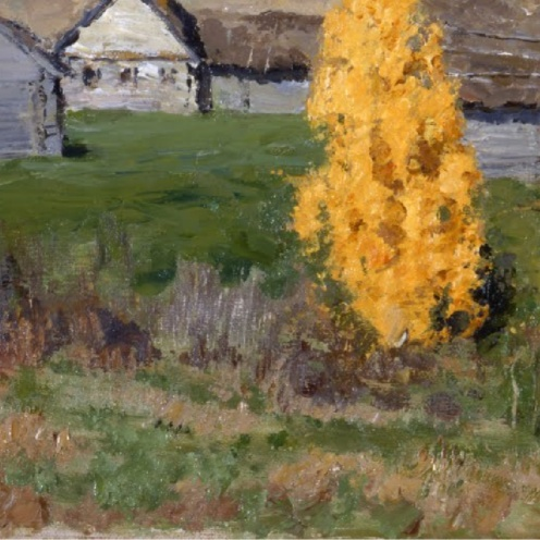 Isaac Levitan, Golden Autumn, Slobodka, (Original Title: Золотая осень. Слободка) 1889, oil on canvas, Dimensions: w675 x h430 mm, From The State Russian Museum, St. Petersburg, Image Source: Google Arts & Culture, (detail)