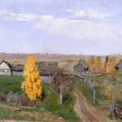 Isaac Levitan, Golden Autumn, Slobodka, (Original Title: Золотая осень. Слободка) 1889, oil on canvas, Dimensions: w675 x h430 mm, From The State Russian Museum, St. Petersburg, Image Source: Google Arts & Culture
