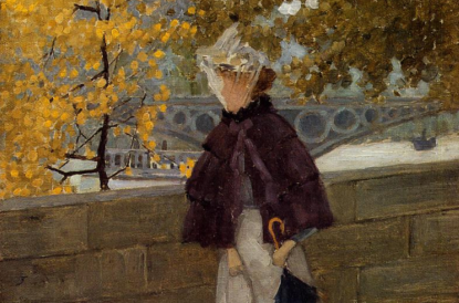 Along the Seine by Maurice Prendergast (1892-1894),Height: 33.02 cm (13 in.), Width: 24.13 cm (9.5 in.), Whitney Museum of American Art - New York, NY, Painting - oil on canvas, Public domain, Image source: The Athenaeum (detail)