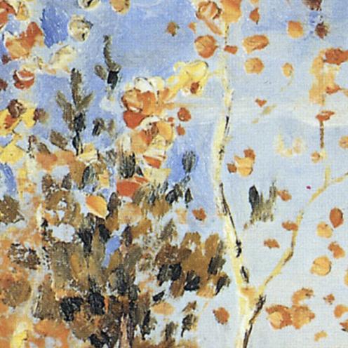 Golden Autumn (in Russian: Золотая Осень ,Zolotaya Osen'), Isaac Levitan, 1895, Public Domain, Tretyakov Gallery, image source: https://upload.wikimedia.org/wikipedia/commons/5/57/Levitan_Zolotaya_Osen.jpg, (detail)
