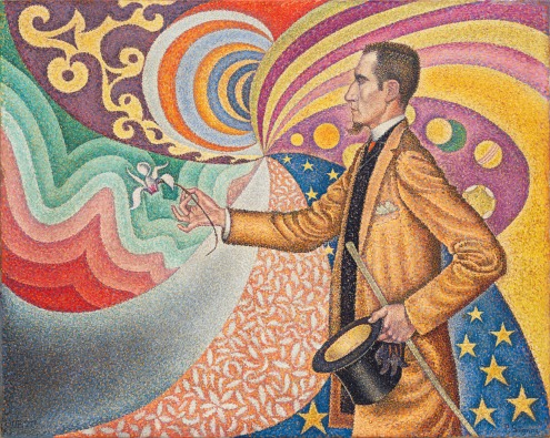 Paul Signac, Opus 217. Against the Enamel of a Background Rhythmic with Beats and Angles, Tones, and Tints, Portrait of M. Félix Fénéon in 1890, Gift of Mr. and Mrs. David Rockefeller, Image source: https://www.moma.org/collection/works/78734