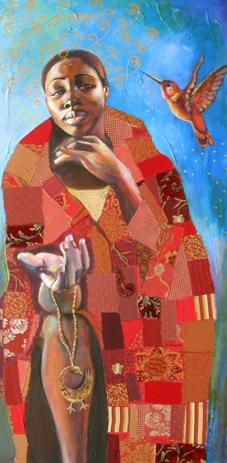 Sankofa (2008) by Tamara Natalie Madden (48″ x 24″, acrylic and mixed media on canvas)