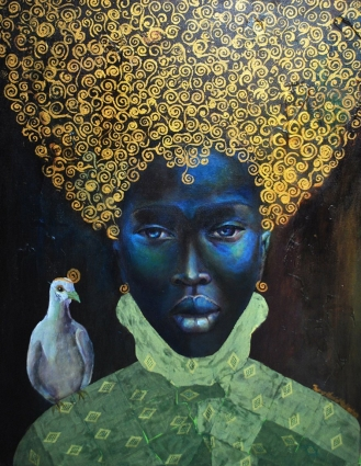 "The Black Queen, Tamara Natalie Madden, 30x20 inch, mixed media on canvas, series ""The Guardians"" ,https://commons.wikimedia.org/wiki/File:Tamara_Natalie_Madden%27s,_The_Black_Queen.jpg"