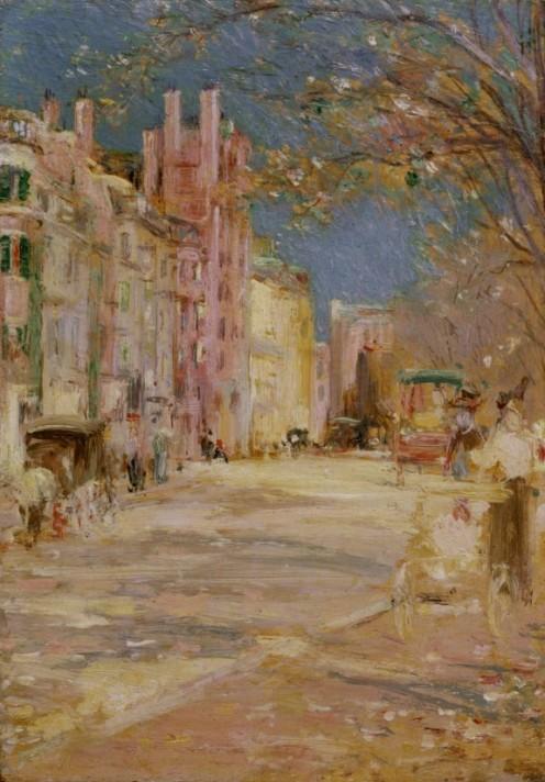 Edward Mitchell Bannister: Boston Street Scene (Boston Common), 1898-99, oil on panel, H: 8 x W: 5 1/2 in. (20.32 x 13.97 cm), Walters Art Museum, Boston, Mass.