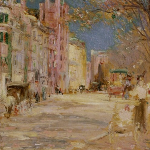 Edward Mitchell Bannister: Boston Street Scene (Boston Common), 1898-99, oil on panel, H: 8 x W: 5 1/2 in. (20.32 x 13.97 cm), Walters Art Museum, Boston, Mass.