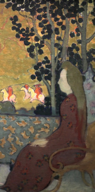 Maurice Denis, September Evening, (1891), Musée d'Orsay, Maurice Denis CC BY-SA 2.0 fr (https://creativecommons.org/licenses/by-sa/2.0/fr/deed.en)], via Wikimedia Commons, (detail)